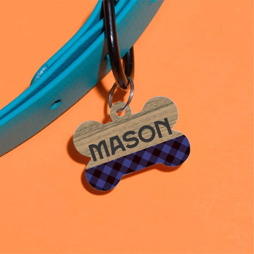 Blue Plaid Pet ID Tag - The Dapper Paw
