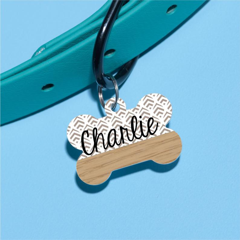 Geo Leaves Pet ID Tag - The Dapper Paw