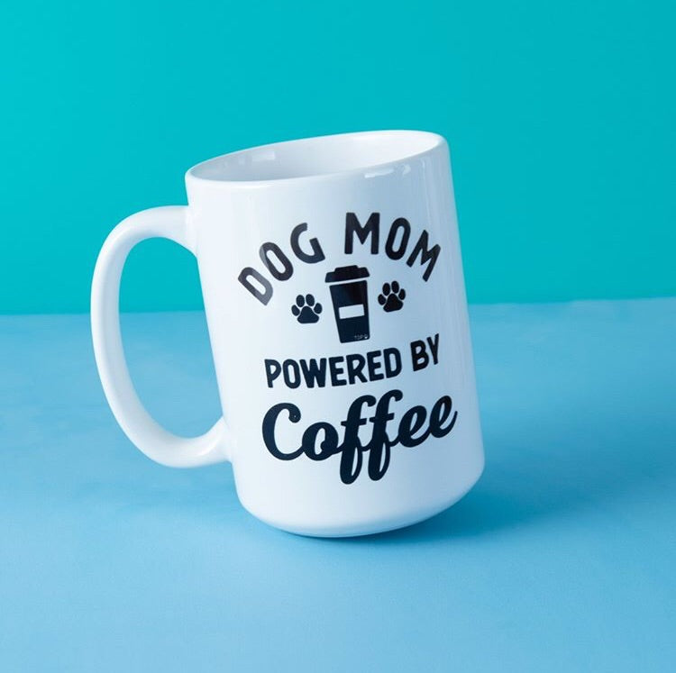 Dog Mom Powered by Coffee Mug - The Dapper Paw
