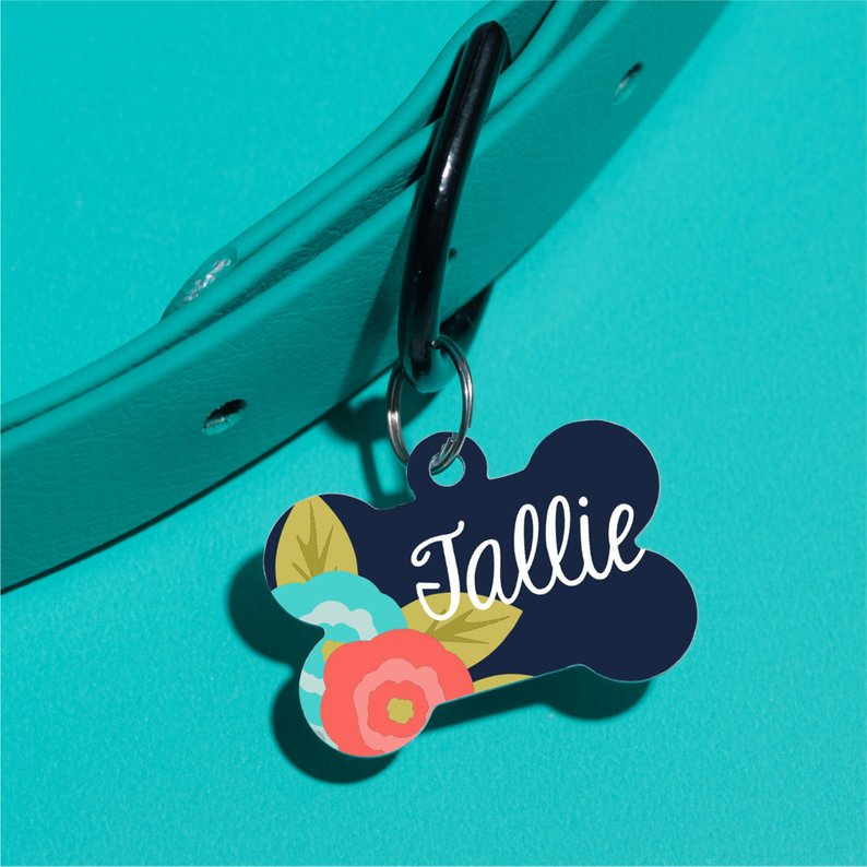 Navy Floral Pet ID Tag - The Dapper Paw