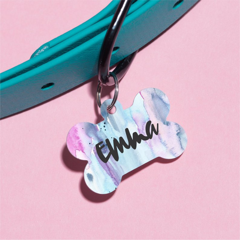 Pastel Watercolor Pet ID Tag - The Dapper Paw