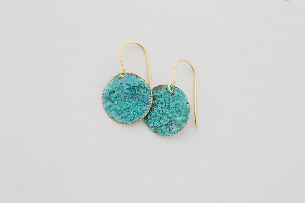 Small Circle Patina Earrings