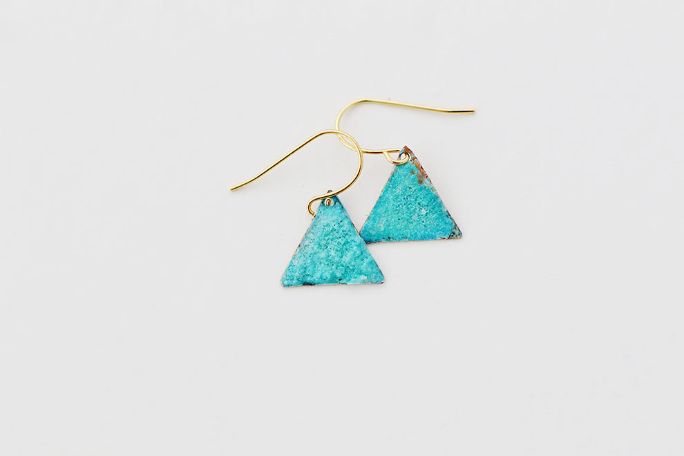 Tiny Triangle Patina Earrings