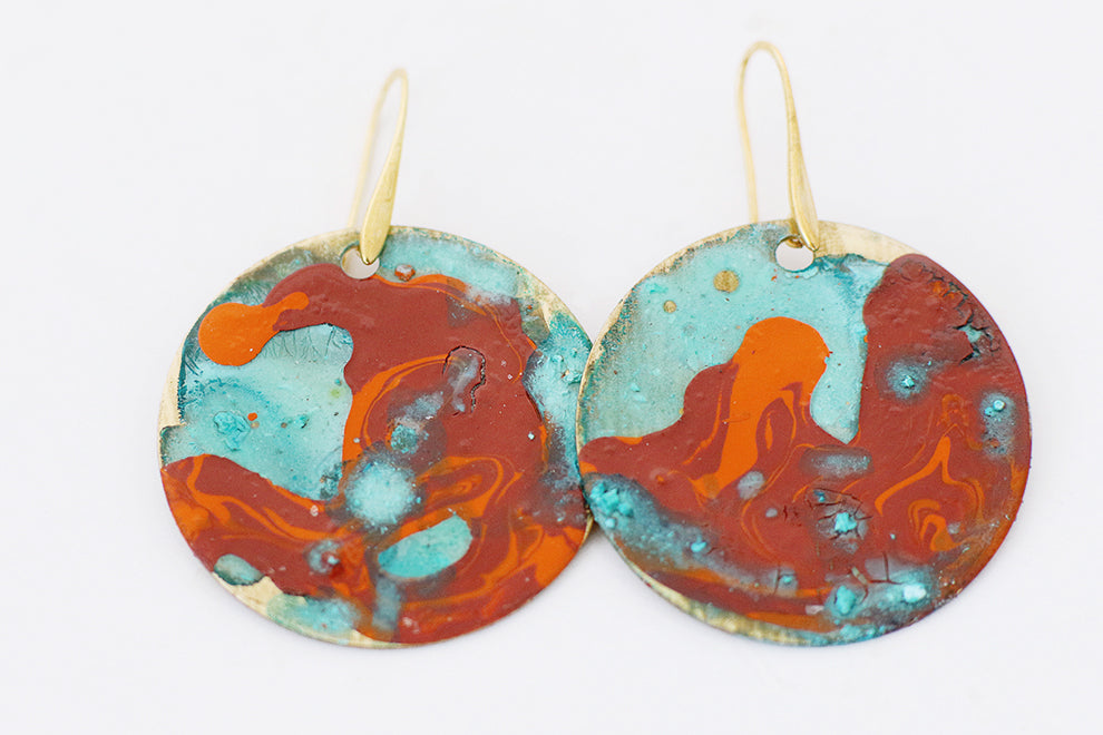 Large Circle Inferno Earrings
