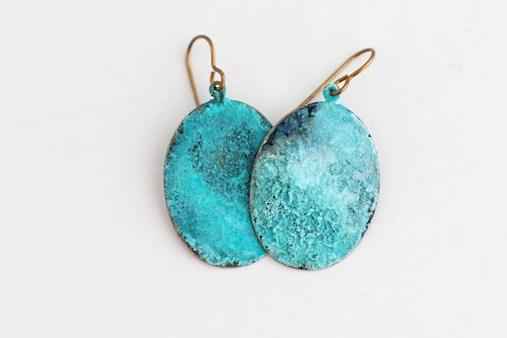 Large Patina Oval Patina Earrings