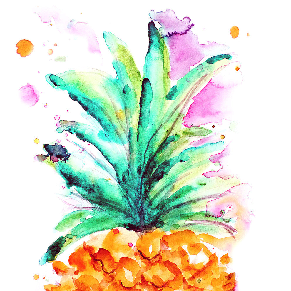 Pineapple Squared Loose Water Color Print