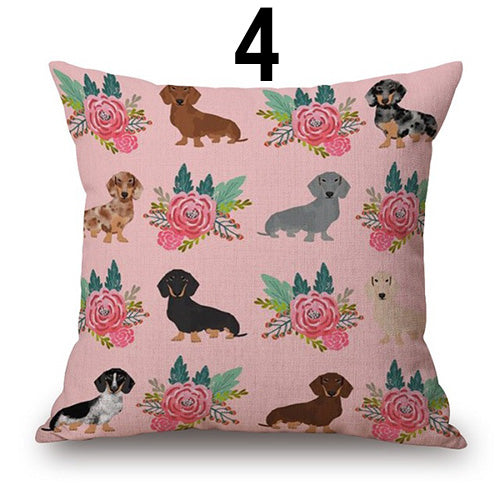Cute Cartoon Dachshund Cushion Cover