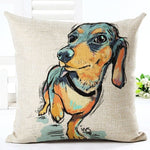 Dachshund Brown and Black - Square Painted Cushion - SPECIAL OFFER!