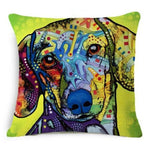 Amazing Oil Painting Dog Cushion Cover