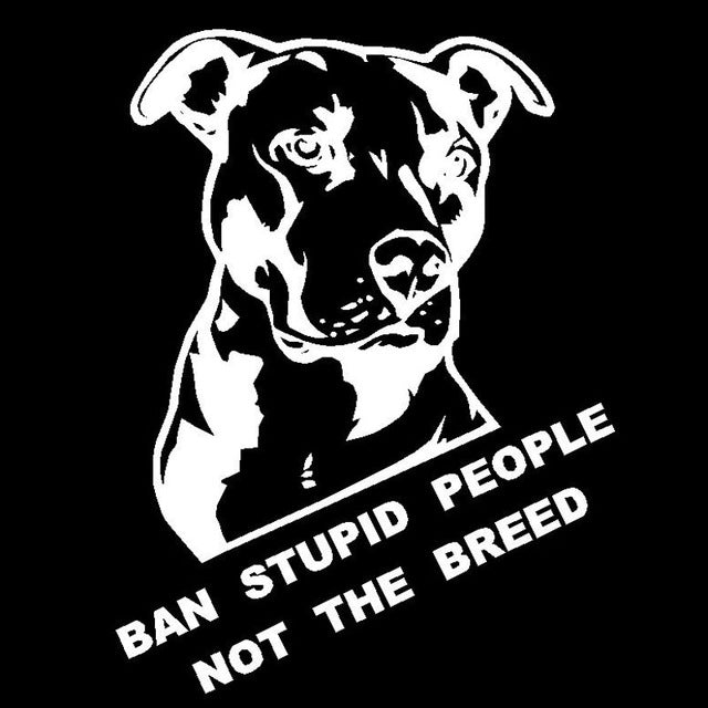 Ban Stupid People Not The Breed - Pitbull Car Sticker