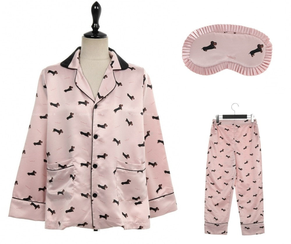 New 2017 Cute Dachshund Pajamas - 3 Pieces Set
