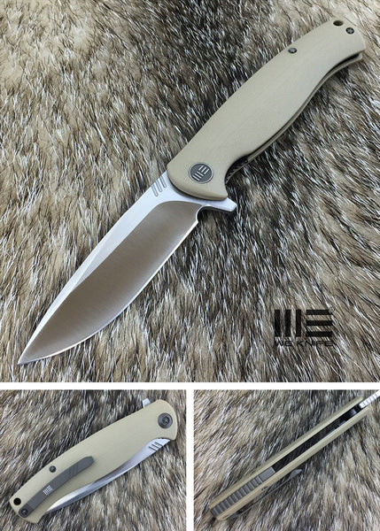 We Knife 703 703D D2 Steel Tan G10 Handle