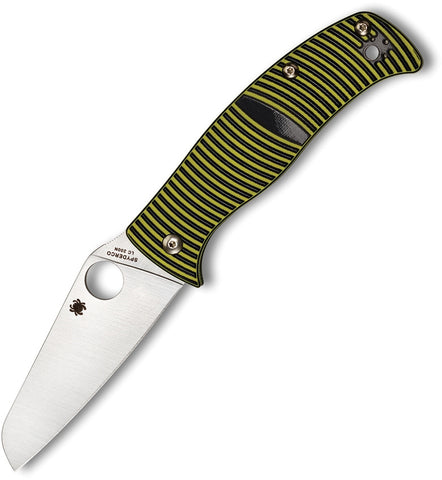 Spyderco C217GPSF Caribbean Sheepfoot Folding Knife Black Yellow