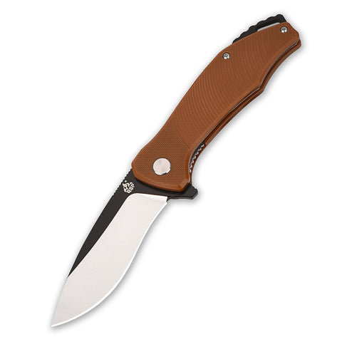 QSP Raven Folding Liner Lock Knife - D2 Blade Steel - Brown G10 Handle - QS122-A
