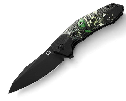 QSP Knife Ghost Folder QS104-A 440C Black Titanium Coated G10 Handles