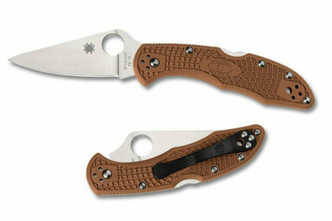 Spyderco Delica 4 Lightweight Knife C11FPBN Brown - Full Flat Ground VG-10 Blade