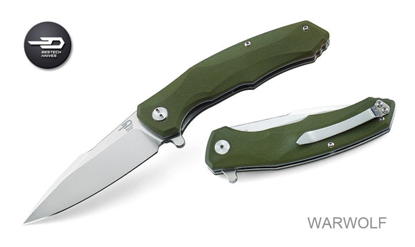 Bestech Warwolf BG04B Knife D2 Blade Steel Green G10 Handle