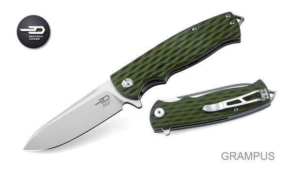 Bestech Knives Grampus D2 Blade Steel Green G10 Handle Folder BG02B