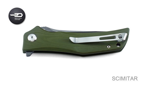 Bestech Scimitar BG05B-2 Knife D2 Blade Steel Green G10 Handle