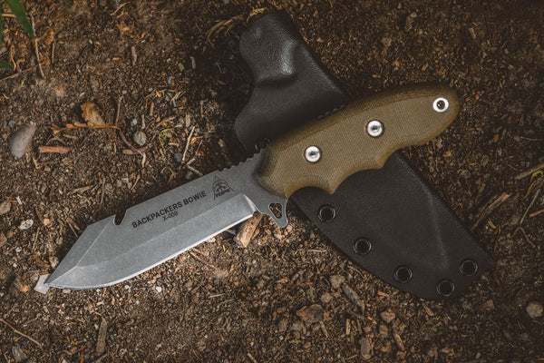 Tops Knives Backpacker's Bowie Knife Green Canvas Micarta