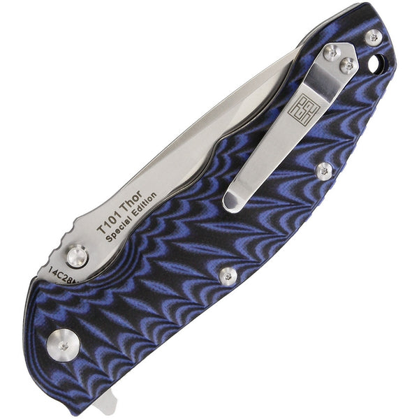 Real Steel T101 Thor Special Edition Folding Knife Blue Black Milled Handles
