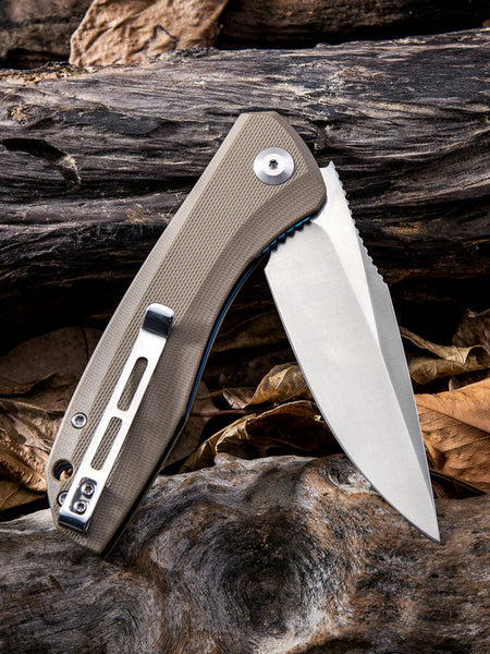 CIVIVI C801 Baklash Folding Knife 9Cr18MoV Blade Steel Tan G10 Handle C801B