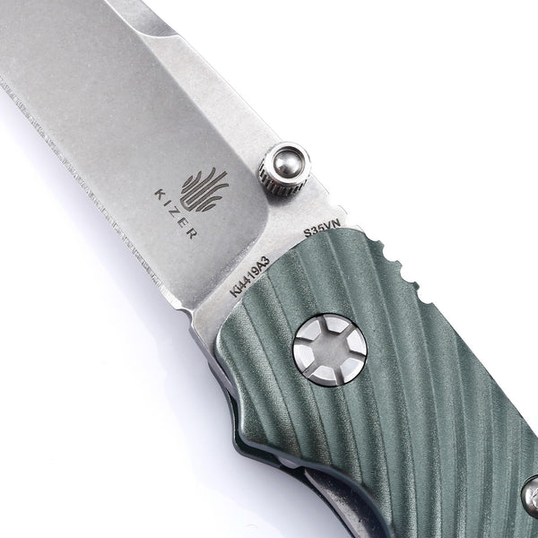Kizer KI4419A3 Sliver Folding Knife S35VN Blade Green Aluminum Handle
