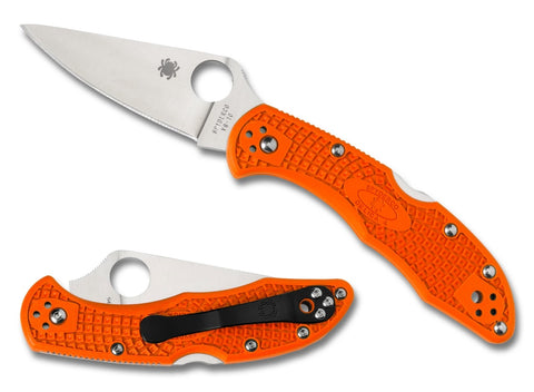 Spyderco Delica 4 Lightweight Knife C11FPOR Orange Full Flat Ground VG-10 Blade