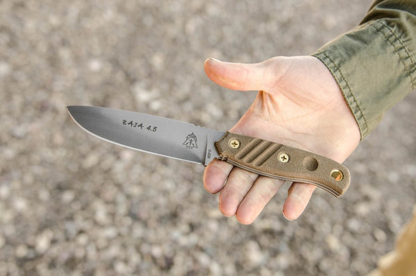 Tops Baja 4.5 Fixed Blade Knife + Leather Sheath