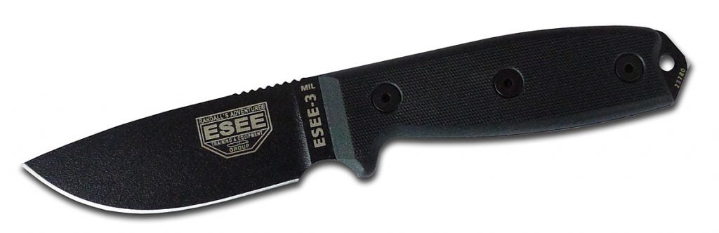 ESEE 3MIL P BLK Black Blade Micarta Handle Knife
