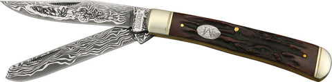 Marbles Trapper Etched Damascus Series Knife