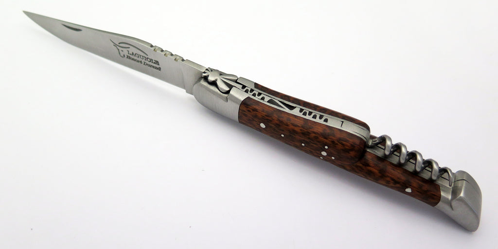 Laguiole Durand LD3CSN 14C28N Blade Folding Knife With Corkscrew Snakewood