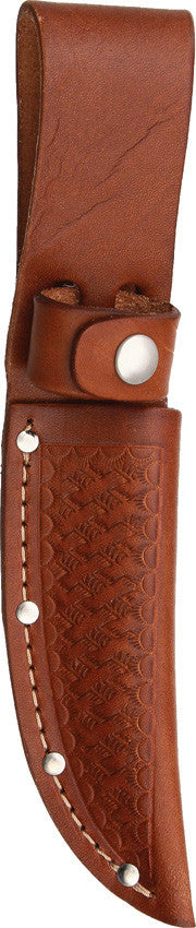 Brown Basketweave Leather Knife Sheath 4 Inch Blade