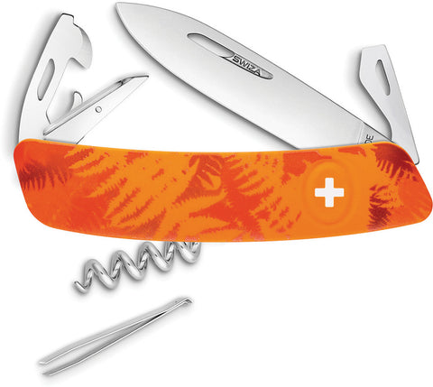 Swiza C03 Button Lock Orange Camo KNI.0030.2060