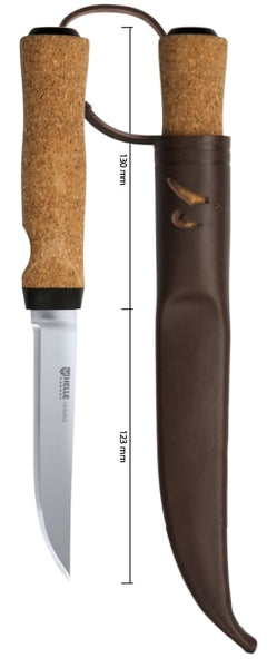 Helle Hellefisk Cork Handle Stainless Fishing Knife + Leather Sheath