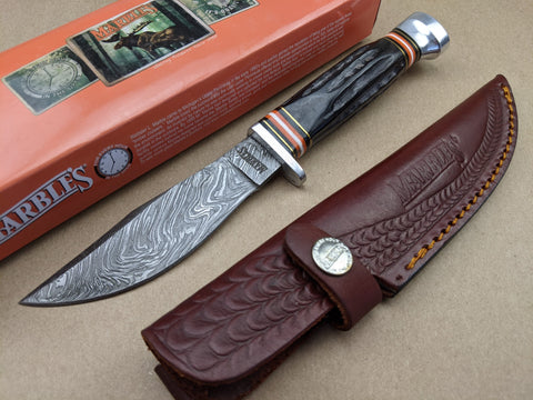 Marbles Fixed Blade Knife Jigged Horn Handle Damascus Steel Leather Sheath MR460