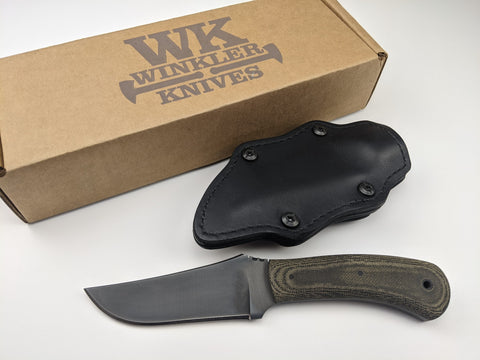 Winkler Knives - Blue Ridge Hunter 80CrV2 Knife - Black Micarta Handles + Sheath
