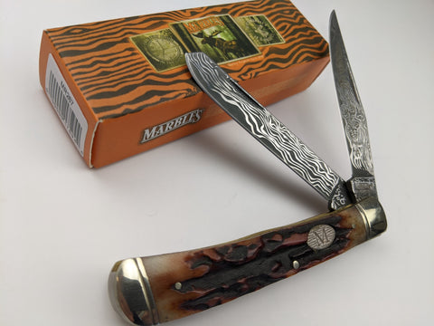 Marbles Damascus Etched Stainless Trapper Folding Knife Stag Bone Handles MR267