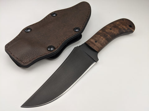 Winkler Knives - 80CrV2 Belt Knife - Maple Wood Handle - Lined Leather Sheath