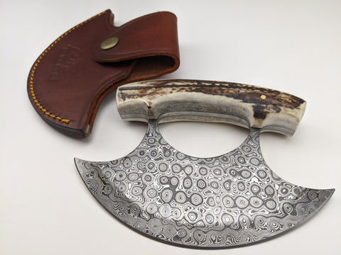 Alaskan Ulu Knife - Damascus Steel Blade - Bone Handle - Leather Sheath Included