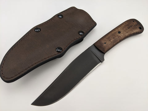 Winkler Knives - Field Knife - Maple Wood Handle - Lined Brown Leather Sheath