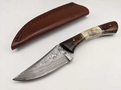 Damascus Steel Skinner Blade Knife - Stag & Wood Handles - Brown Leather Sheath