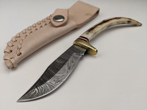 "Damascus Steel 3 1/8"" Blade - Stag Bone Handle 8 1/4"" Knife - Tan Leather Sheath"