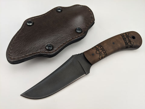 Winkler Knives - Blue Ridge Hunter Knife Tribal Maple Wood Handle Leather Sheath