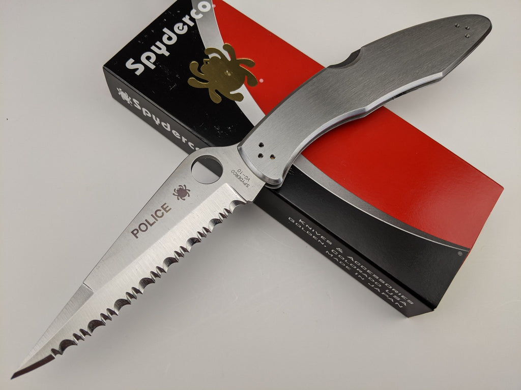 Spyderco Police C07S Knife Stainless Handle Back Lock Serrated VG-10 Blade