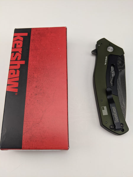 Kershaw Knockout Damascus Blade SpeedSafe Assisted Opening Green Folding Knife