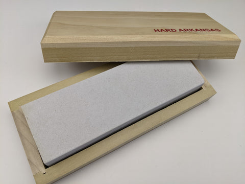 "Arkansas Knife Sharpening 6"" Whetstone Hard Sharpener + Wood Storage Box - USA"