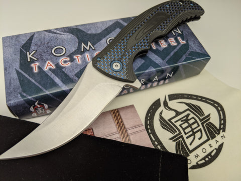 Komoran Blue/Black Carbon Fiber Inlay G10 Handle Folding Knife Satin Stainless