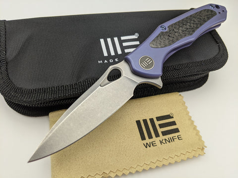 We Knife - Vapor - Blue Titanium Handle - Stonewash S35VN Stainless Blade - 804B