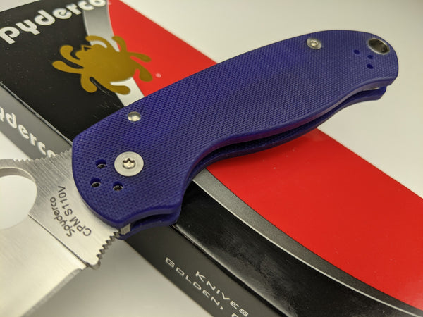 Spyderco Para 3 Folding Knife C223GPDBL G-10 Dark Blue Handle CPM S110V Blade